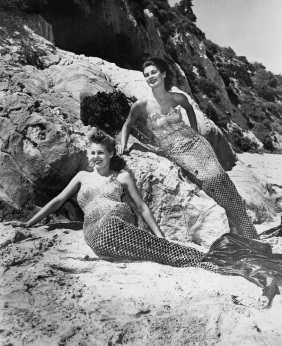 mermaids on rocks stock photo