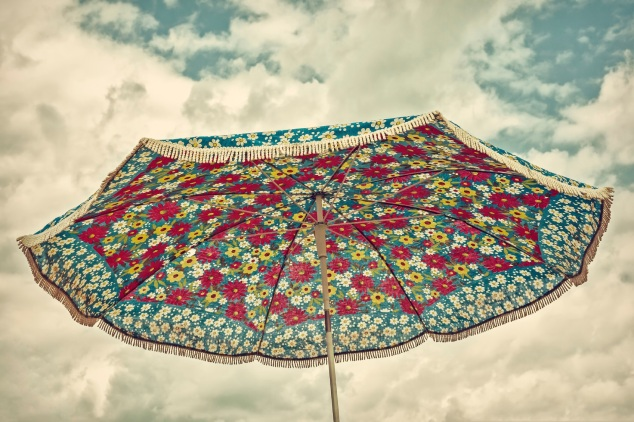 Retro styled image of an old parasol